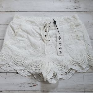 Nwt Minkpink lace eyelet lace up scallop short